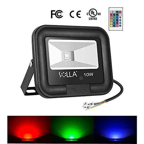 10W RGB Led Dimmable Flood Light,SOLLA Outdoor Color Changing Light with Remote Control,Decorative Light 16 Colors 4 Modes,IP65 Waterproof Outdoor Stage Landscape Lighting for Party Holiday Decoration by SOLLA
