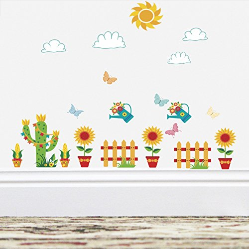 BIBITIME Sky Sun Clouds Flying Butterflies Potted Cactus Watering pot Sunflower Fence Border Stickers for Living Room Baseboard Wall decal Classroom Nursery Decor Art PVC Murals