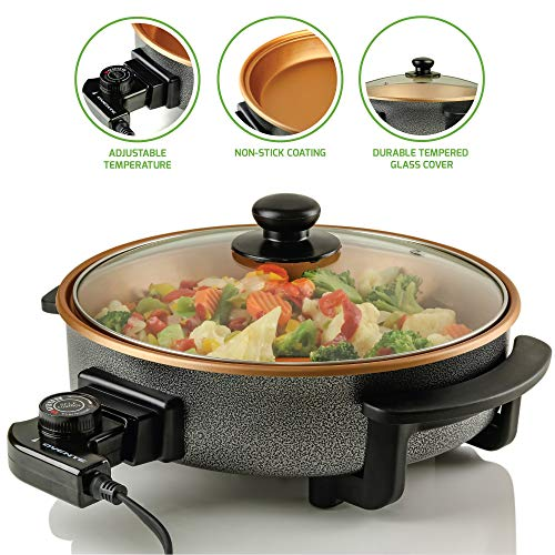 Ovente Electric Skillet with Non-Stick Aluminum Body, 12 Inch, 1400-Watts, Temperature Controller, Tempered Glass Cover, Cool-Touch Handles, Copper Interior, SK11112CO (Renewed)