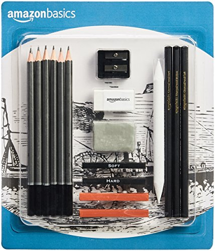 AmazonBasics Sketch and Drawing Art Pencil Kit - 17-Piece - Drawing Supplies Art