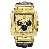 Reloj de pulsera con diamantes Phantom 2.38 quilates para hombres de lujo JBW con pulsera de cuero