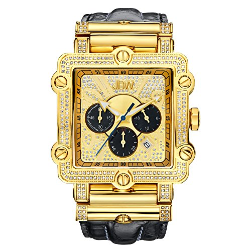 (JBW Luxury Men's Phantom 2.38 ctw Diamond Wrist Watch with Leather Bracelet)