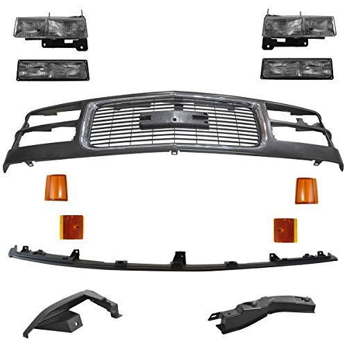 Front Headlight Corner & Parking Lamp Kit with Black Chrome Grille for GM Truck ()