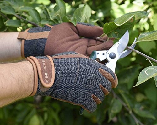 Burgon /& Ball Dig the Glove Tweed Pair of Gardening Gloves Leather Machine Washable One Size L//XL