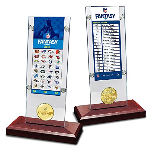(The Highland Mint NFL Fantasy Football Roster Card Coin Desk Top Acrylic Holder, 12