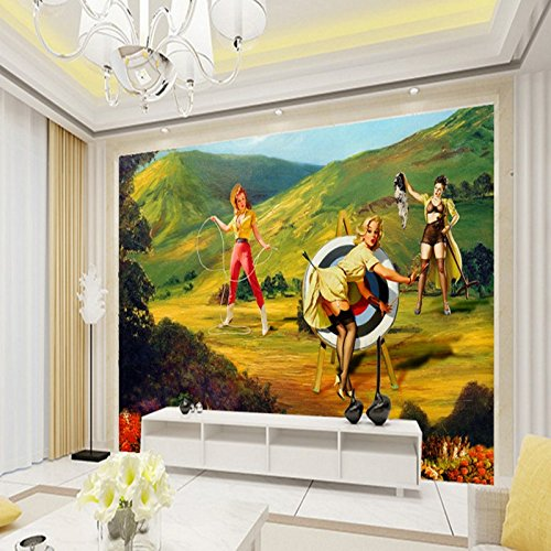 LHDLily Beautiful Woman Outdoor Painting Tv Backdrop Bedroom Lobby Bathroom Wallpaper 3D Stereo Mural ()