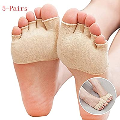 Wellwear 5 Pairs Womens No Show Socks Five Toe Heelless Half Boat Socks Set / Toe Socks
