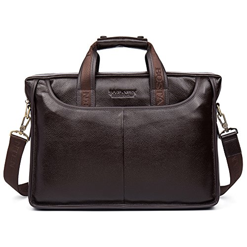 BOSTANTEN Leather Briefcase Laptop Case Handbag Business Bags for Men Brown ()