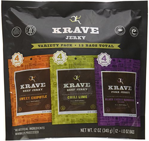 Krave Jerky Variety - 12 Pack Sweet Chipotle & Chili Lime Beef, Black Cherry Barbecue Pork 12oz