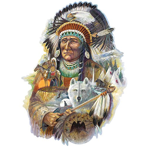 Bits and Pieces - 750 Piece Shaped Jigsaw Puzzle for Adults - Spirit of The Wind - 750 pc Native American Jigsaw by Artist Ruane Manning