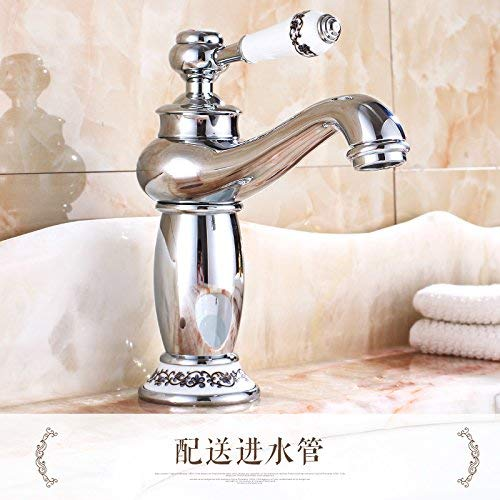 5 Oudan Basin Mixer Tap Bathroom Sink Faucet All copper european style golden basin pink gold bluee enamel hot and cold redary antique table basin chrome faucet, easy chrome plated (color   19)