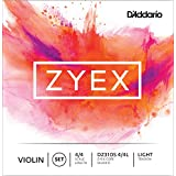 D'Addario Zyex Violin String Set with Silver D, 4/4 Scale, Light Tension