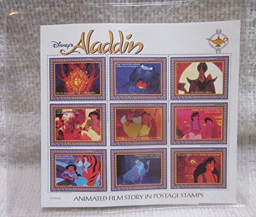 1993 Disney's Aladdin Animated Film Story in Postage 9-Stamp Block Guyana $50 #4688 - Disney Stamp Block
