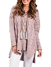 Women's Long Sleeve V Neck Loose Knit Pullover Sweaters S-XXL
