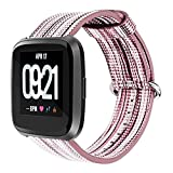 YRD Tech for Fitbit Versa Fine Woven Nylon Adjustable Replacement Band Sport Strap (A)