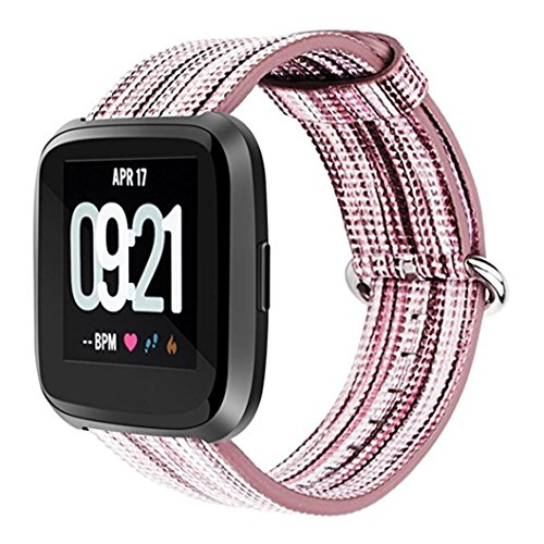 YRD Tech for Fitbit Versa Fine Woven Nylon Adjustable Replacement Band Sport Strap (A) by YRD TECH