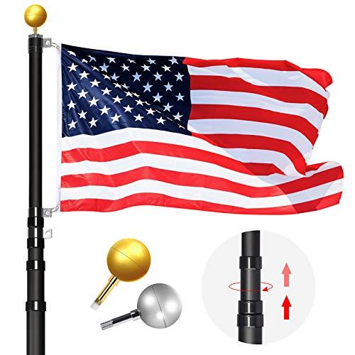 WinisKi Telescoping Flag Pole 20ft Black Extra Thick, Outdoor Heavy Duty Inground Adjustable Height Aluminum Telescopic…