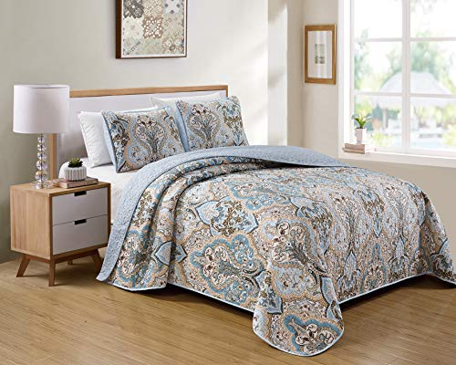 Luxury Home Collection 3 Piece King/California King Quilted Reversible Coverlet Bedspread Set Floral Printed Blue Taupe