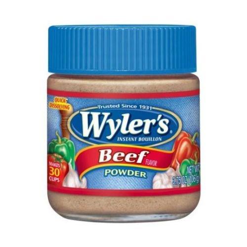 - Wylers Beef Flavor Instant Bouillon Powder, 3.75 Ounce Jar -- 8 per case.