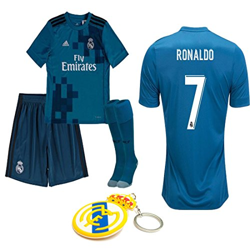 hot sale online ab8ab 0dbd2 Real Madrid Youth Kid Cristiano Ronaldo 2017 2018 17 18 Soccer Third 3rd  Jersey Kit : Jersey, Short, and Socks(Kid Size 26 (9-10 Years Old) )
