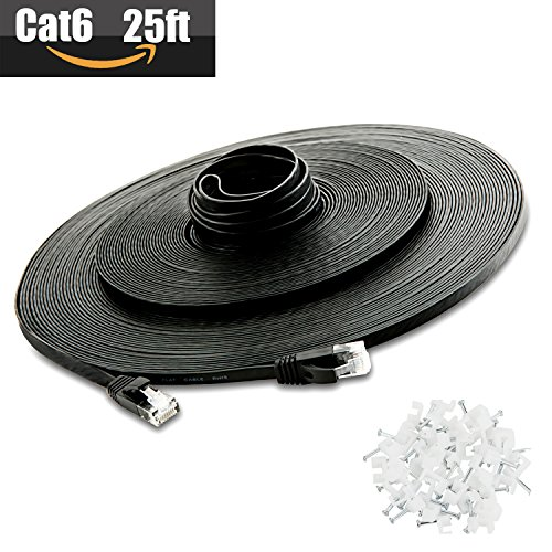 Cat 6 Ethernet Cable 25ft (At a Cat5e Price but Higher Bandwidth) Cat6 Internet Network Cable - Flat Ethernet Patch Cable Short - Black Computer Lan Cable + Free Cable Clips and Labels