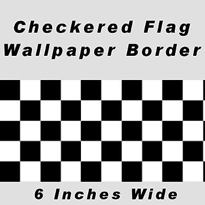 Checkered Flag Cars Nascar Wallpaper Border-6 Inch (No Edge)