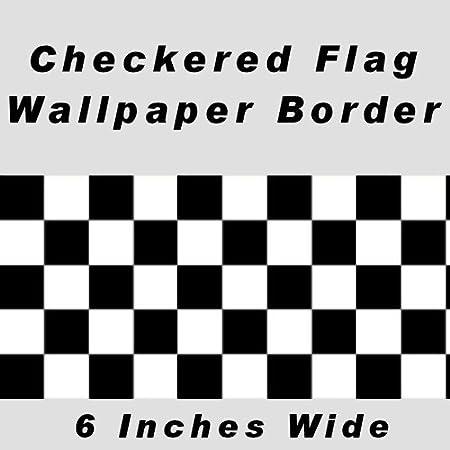 Checkered Flag Cars Nascar Wallpaper Border 6 Inch No Edge