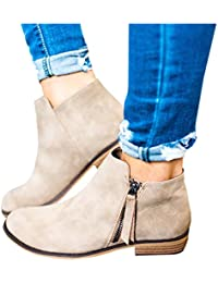 Boots for Women Ankle Winter Low Heel Western Side Zipper...