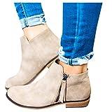 Daomumen Boots for Women Ankle Booties Low Heel Western Side Zipper Pointed Toe Solid Color Beige