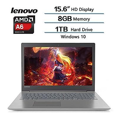 """2018 High Performance Lenovo Flagship IdeaPad320 Notebook, 15.6""""HD Display, AMD A6-9220 Processor ( 2.90GHz 1MB ), 8GB RAM, 1TB 5400 RPM HDD, Windows 10, W/ Webcam, Wifi, Bluetooth (Onyx Black)"""