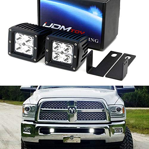 iJDMTOY LED Pod Light Fog Lamp Kit For 2009-12 Dodge RAM 2500 3500, Includes (2) 20W High Power CREE LED Cubes & Lower Grille Opening Area Mounting Brackets
