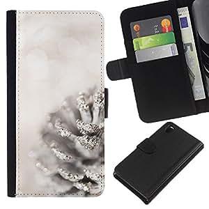 KLONGSHOP // Tirón de la caja Cartera de cuero con ranuras para tarjetas - Blanca Acorn Nieve Navidad - Sony Xperia Z3 D6603 //