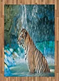 Tiger Area Rug by Ambesonne, Feline Beast in Pond Searching for Prey Sumatra Indonesia Scenes, Flat Woven Accent Rug for Living Room Bedroom Dining Room, 5.2 x 7.5 FT, Turquoise Pale Brown Black