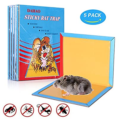 Super Sticky Mouse Glue Trap, Rat Glue Traps, Strongly Adhesive Extra Large, Mouse Traps Glue Board for Mice Rodent Pests Bug Ant Spider - 5 Pack