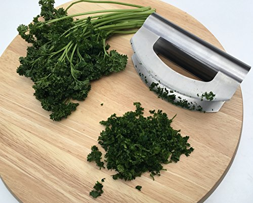 Checkered Chef Mezzaluna Chopper - Double Bladed Stainless Steel Salad Chopper with Blade Covers - Rocker Knife - Mincing Knife - Make the Best Chopped Salads! Dishwasher Safe. by Checkered Chef (Image #5)