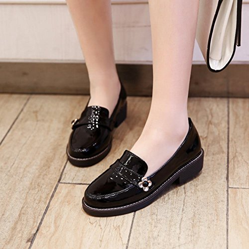 Foot Black Leather Charm Comfort Shoes Heel Patent Low Loafers Women's Oxpwq6d