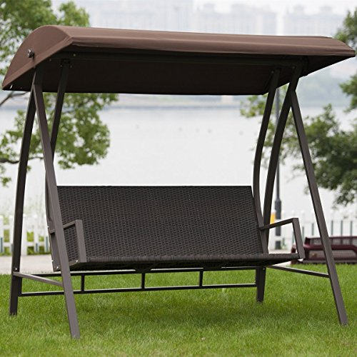 Porch Swing Outdoor Lounge Chair Seats 3 Patio PE Wicker Glider Bench with Steel Frame and Padded Cushion, Dark Brown by PatioPost (Image #9)