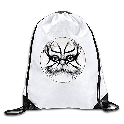 FOODE Kabuki Cat Supersize Plate Drawstring Backpack