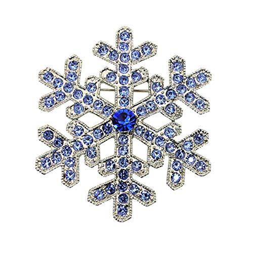 Vintage Brooch Pin Silver Tone Christmas Snowflake Rhinestone Crystal Wedding