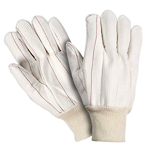 Southern Gloves UCHF183M Corded Poly/Cotton Outer Oil Field Gloves, Heavy Weight, Non-Woven Liner, Natural Knit Wrist, Medium, White (Pack of 12)