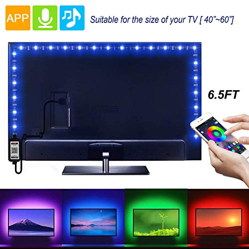 Led Strip Lights 6.56ft for 40-60in TV USB Backlight Kit with Remote, 16 Color 5050 Bias HDTV(App Controlled)