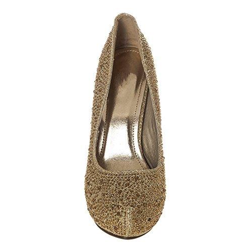 Plateau Court Toe Satin con Shoes diam Peep strass oro TwTvq1fS