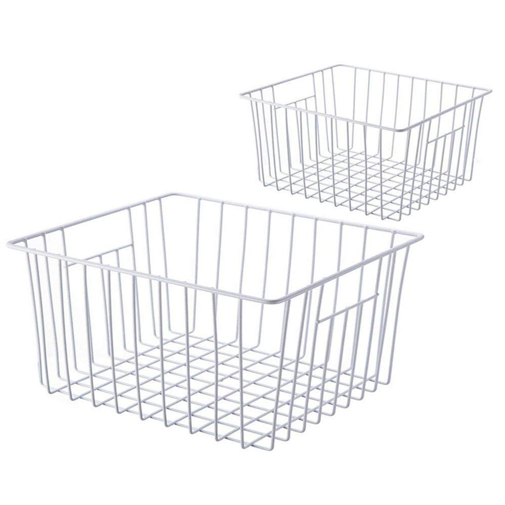 SANNO Freezer Wire Storage Organizer Baskets, Household Refrigerator Bin with Built-in Handles for Cabinets, Pantry, Closets, Bedrooms - Set of 2