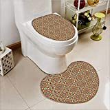 vanfan 2 Piece Toilet Cover set Patterns with Islamic Persian Ethnic Elements Eastern Non-slip Soft Absorbent Heart shaped foot pad
