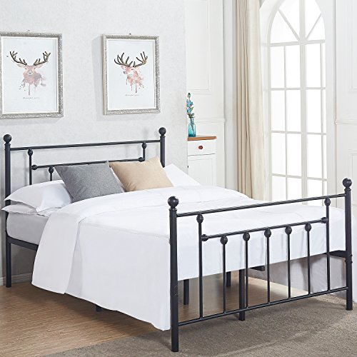 VECELO Queen Size Bed Frame, Metal Platform Mattress Foundation/Box Spring Replacement with Headboard Victorian Style (Bed Queen Metal Size Canopy)