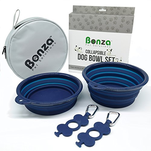 "Bonza Large Collapsible Dog Bowls, Twin Pak, 42oz 7"" Diameter, Portable Dog Water Bowls for Medium to Large Pets, Lightweight, Sturdy, Leak Proof, Food Safe, Premium Quality Travel Pet Bowl Solution"