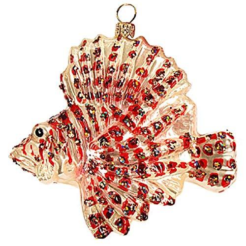 Pinnacle Peak Trading Company Lionfish Polish Glass Christmas Tree Ornament Fish Animal Sea Life Decoration -