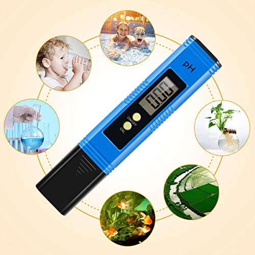 Yeslike Digital PH Meter, PH Meter 0.01 PH High Accuracy Water Quality Tester with 0-14 PH Measurement Range for Household Drinking, Pool and Aquarium Water PH Tester Design with ATC (Blue) by Yeslike (Image #1)