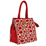 Ecotara Golden Glaze Designer Jute Lunch Bag- Crimson Red 10*10 Inch
