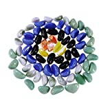 POPETPOP Fish Tank Decorative Stone Pebble Crystal Glass Stone Artificial Polished Sand Stone Micro Landscape (Mixed Color)